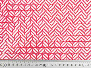 elastische Baumwolle grafisches Muster Quadrate, weiß rot