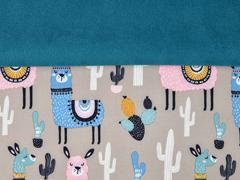 RESTSTÜCK 82 cm Softshell Jackenstoff Lamas Kaktus, rosa beige