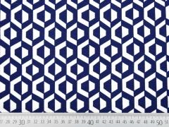 Viskose Jersey grafisches Muster, dunkelblau creme