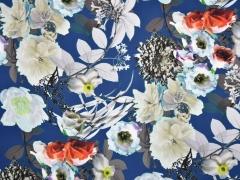 Blusenstoff Blumen, blau