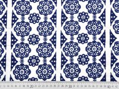 RESTSTÜCK 68 cm bestickte Webware Blumen Lochstickerei, dunkelblau weiß