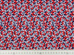 Viskose Blumenzweige, rot weiss dunkelblau