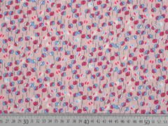 RESTSTÜCK 60 cm Viskose kleine Blumen, hellblau pink altrosa
