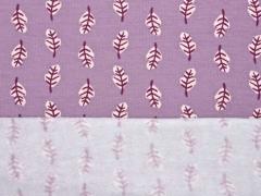 RESTSTÜCK 65 cm angerauter Sweat Blätter, lavendel