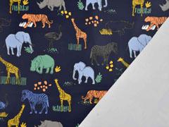 Regenmantel Stoff Zootiere dunkelblau