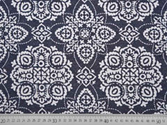 Dekostoff Jacquard Ornamente Doubleface blau grau