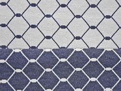 Dekostoff Jacquard Gitternetz Doubleface blau grau