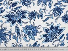RESTSTÜCK 19 cm luftige Viskose opulente Blumen, jeansblau weiß