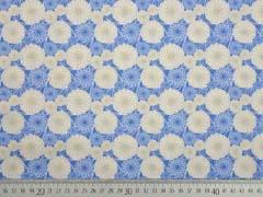 Baumwollstoff Sommerblumen, beige blau