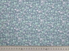 Baumwollstoff Streublumen, grau mint