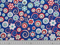 Jersey Kreise Blumen, dunkelblau