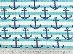 Waffelpiqué Frottee Streifen Anker, dunkelblau aquamarin weiß