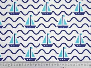 Waffelpiqué Frottee Stoff Wellen Segelboote, dunkelblau aquamarin weiß
