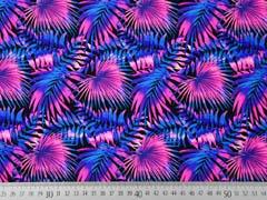Badeanzugstoff Funktionsjersey Palmblätter, blau pink schwarz
