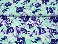Badeanzugstoff Funktionsjersey tropische Blumen, mint lilablau