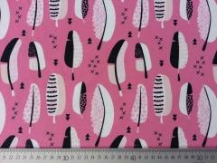 RESTSTÜCK 85 cm Jerseystoff Federn & Kreuze,schwarz sorbet pink