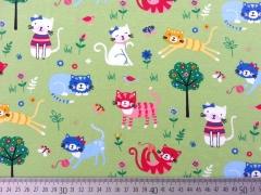 RESTSTÜCK 91 cm Jersey bunte Katzen Little Darling, hellgrün