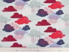 RESTSTÜCK 76 cm Jersey Wolken, rot helles eisblau
