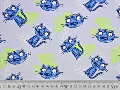 Bio-Jersey Katzen, blau