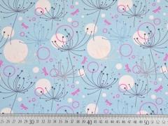 RESTSTÜCK 66 cm Jersey Blumen zartes hellblau