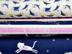 RESTSTÜCK 72 cm Jersey Vintage Streifen mit Glitzer, rosa navy