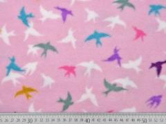 Fleece Schwalben, bunt auf rosa