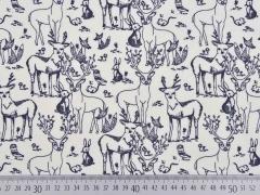 RESTSTÜCK 63 cm Bio-Jersey Hirsche & Friends, grau grauweiss