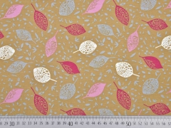 Bio-Jersey Blätter, rosa/helles camel