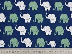RESTSTÜCK 86 cm Jersey Elefanten, indigoblau mattgrün