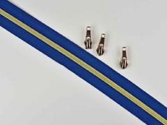 endlos Reißverschluss metallisiert GOLD 6,5 mm Spirale + 3 Schieber, marine blau
