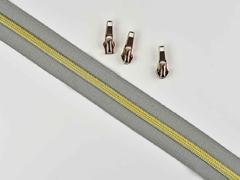 endlos Reißverschluss metallisiert GOLD 6,5mm Spirale + 3 Schieber, mittelgrau