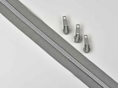 endlos Reißverschluss metallisiert SILBER 6,5mm Spirale + 3 Schieber, mittelgrau