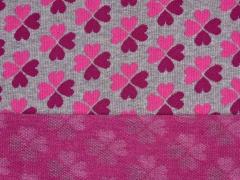 RESTSTÜCK 36 cm HH Liebe Tender Kiss Kleeherzen, pink grau