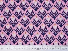 Bio-Jacquard Hamburger Liebe florales Muster, rosa