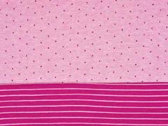 Doubleface Bio-Jacquard Hamburger Liebe Punkte Streifen, rosa