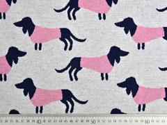 Bio-Jacquard Hamburger Liebe Hunde, rosa grau