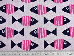 Bio-Jacquard Hamburger Liebe Fische, pink grau meliert