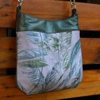 Dekostoff Half Panama tropische Blätter, grün beige