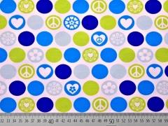 Jersey Punkte Herzen Friedenszeichen, weiß
