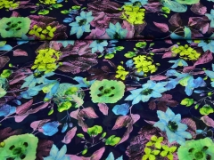 Chiffon Blumen, dunkelblau hellgrün türkis