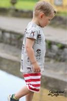 French Terry Streifen garngefärbt, rot weiß
