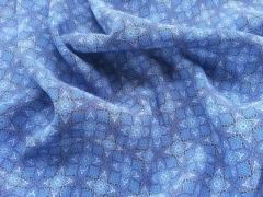RESTSTÜCK 74 cm Viskose Blumen & Ornamente - jeansblau