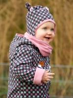 Jackenstoff mit Wolle Rauten Hashtags, pink anthrazit