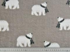 Doubleface Wellness Fleece Eisbären Streifen, hellbeige