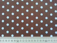 Baumwollstoff Punkte 0,6 cm, hellblau auf braun