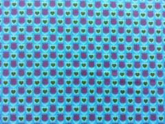 Baumwolle Mini Tulpen & Herzen,lila/grün auf türkis