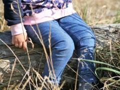 RESTSTÜCK 98 cm dickerer Jeansstoff mit Stretch, mittleres jeansblau