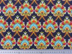 RESTSTÜCK 97 cm Jersey Daydream opulente Ornamente, dunkelblau