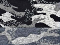 Strickstoff Camouflage angeraut, schwarz grau