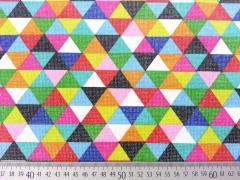 beschichteter Baumwollstoff bunte Dreiecke Leona, bunt gruen